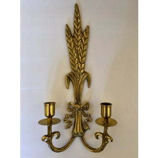Vintage Brass Sheaf of Wheat Candle Sconces- a Pair Preview
