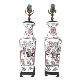 Late 19th Century Vintage Hand Painted Oriental Famille Rose Porcelain Lamps - a Pair For Sale