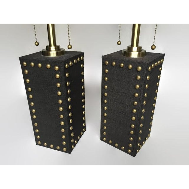 Modern Glam Studded Black & Brass Lamps - Pair - Image 10 of 10