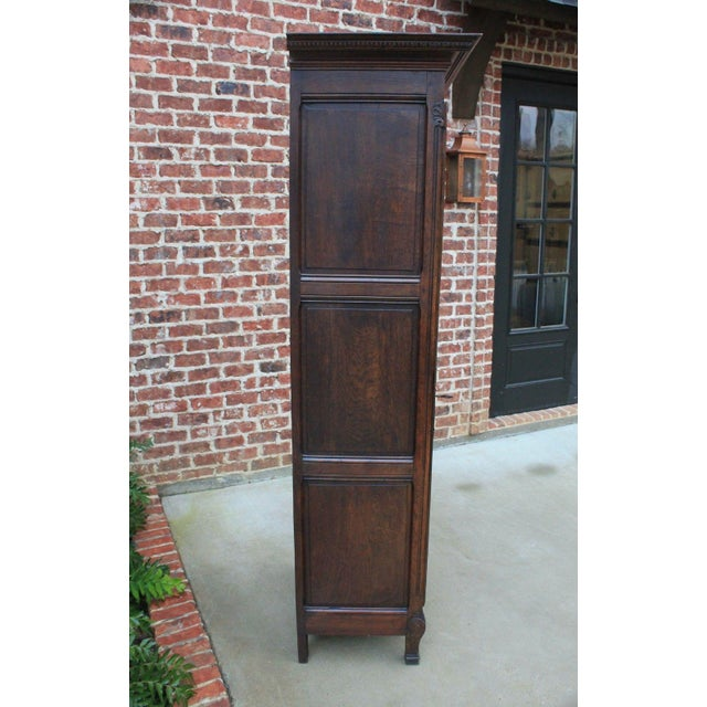 Brown Antique French Country Oak 19th Century Liergues Bonnetiere Cabinet Armoire Wardrobe Bookcase For Sale - Image 8 of 13