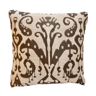 Boho Chic White and Brown Ikat Pillow