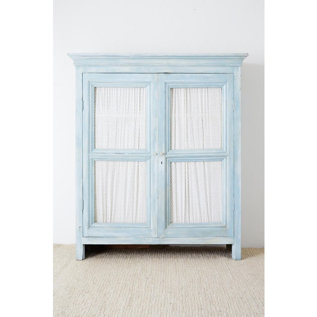 French Provincial Country French Provincial Painted Armoire Cabinet For Sale - Image 3 of 13