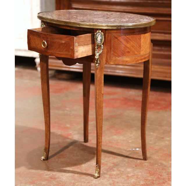 Metal 19th Century French Walnut Marquetry Side Table With Marble Top and Brass Rim For Sale - Image 7 of 8