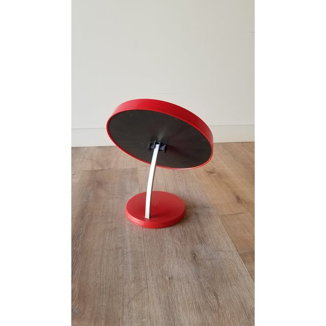 Metal 1970s Red Danish Termotex Tilt Table Mirror For Sale - Image 7 of 9
