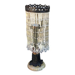 1960s Bronze and Acrylic Beaded Crown Candle Holder For Sale