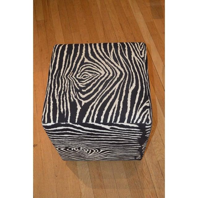 Faux Zebra Print Ottoman - Image 3 of 4