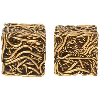Pair of Signed Yasca Bronze Twisted Square Cube Sculptures