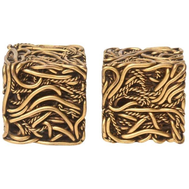 Pair of Signed Yasca Bronze Twisted Square Cube Sculptures For Sale