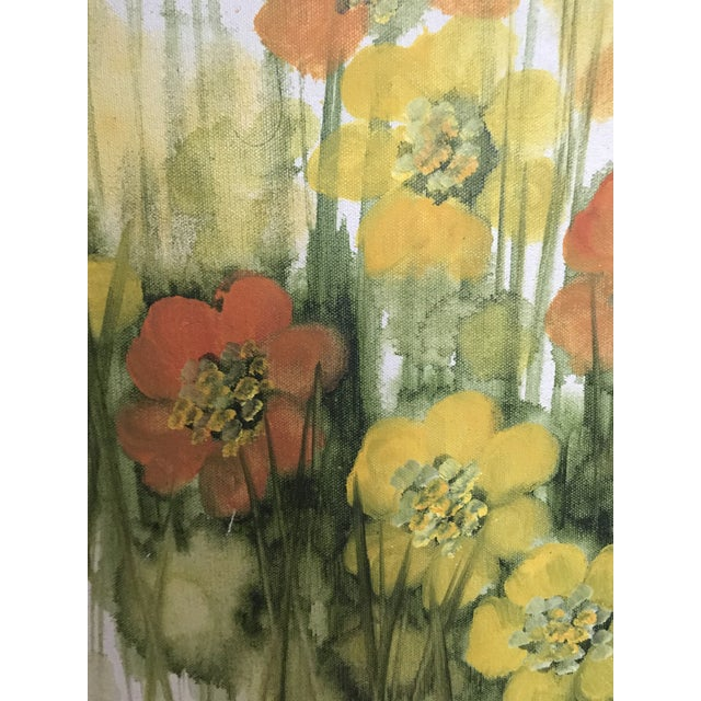 Oil Paint Vintage Mid-Century Large Floral Oil Painting For Sale - Image 7 of 8