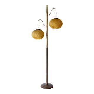 Mid-Century Modern Spun Gold Fiberglass Floor Lamp For Sale