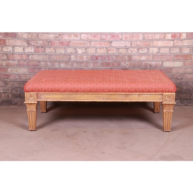 Baker Furniture Company Baker Furniture French Louis XVI Gilt Upholstered Bench, Circa 1960s For Sale - Image 4 of 13