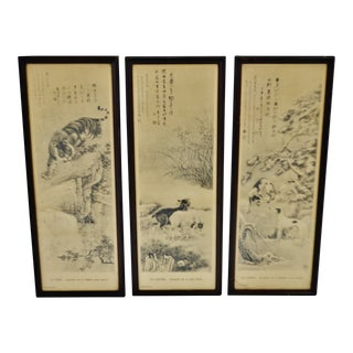 Vintage Framed French Chinese Prints - Set of 3 For Sale