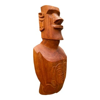 Carved Wood Handmade Totem-Style Sculpture For Sale