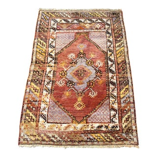 Vintage Turkish Anatolian Wool Rug - 3'x4'6""