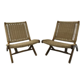 1960s Vintage Hans Wegner Style Rope Folding Chairs- A Pair For Sale