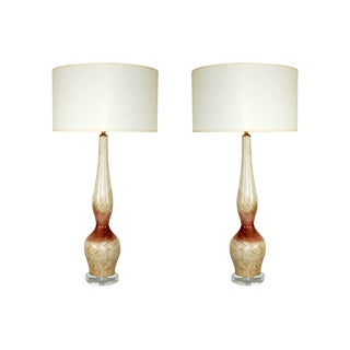 Vintage Murano Toso Glass Table Lamps Lavender For Sale