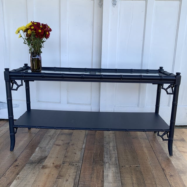 Thomasville Allegro Console Sofa Table Painted Navy For Sale In Philadelphia - Image 6 of 11