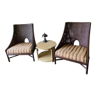 Barbara Barry by McGuire Caned Lounge Chairs - a Pair For Sale