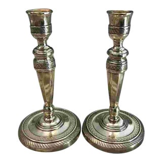 Early 19th C. Pair French Brass Candlesticks For Sale