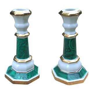 Andrea Sadek Malachite & Gold Candlesticks - A Pair