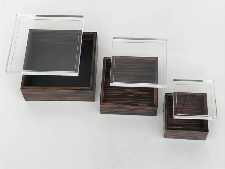 HighEnd Set of Three Macassar Ebony and Lucite Jewelry Boxes DECASO