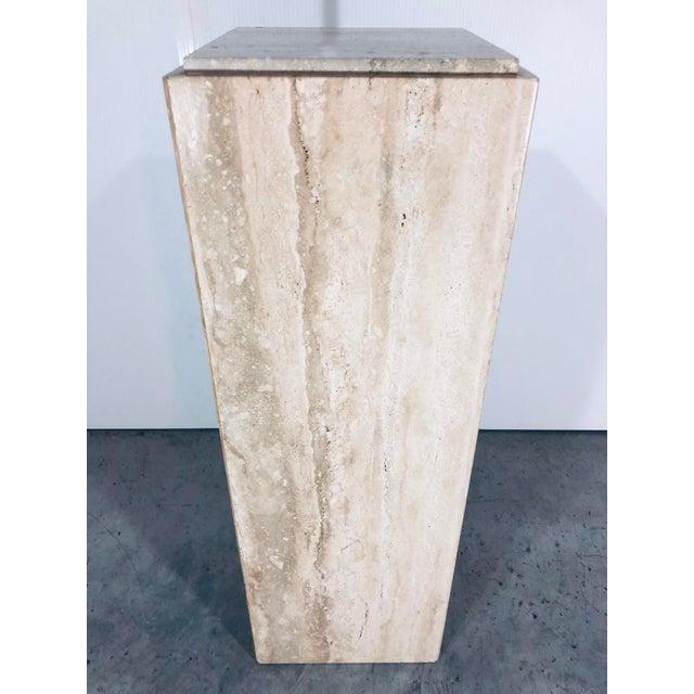 1970s Mid-Century Modern Italian Travertine Pedestal Table For Sale - Image 10 of 10