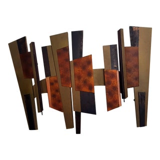 Mid Century Modern Brutalist Abstract Bronze Metal Wall Sculpture For Sale