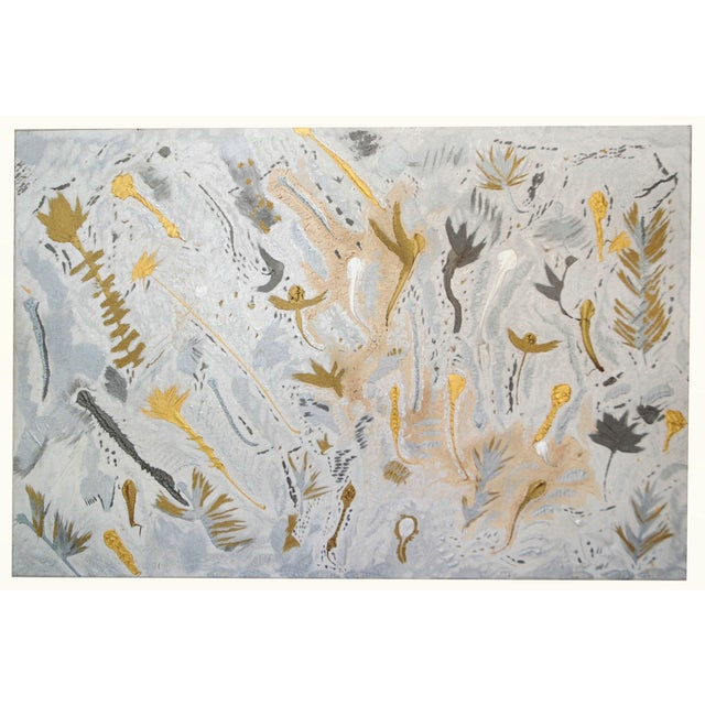 Original Abstract Silver & Gold Oil Painting - Image 2 of 6