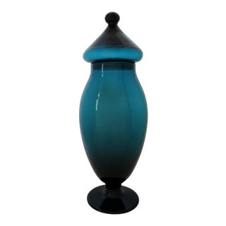 Tall Teal Apothecary Jar For Sale