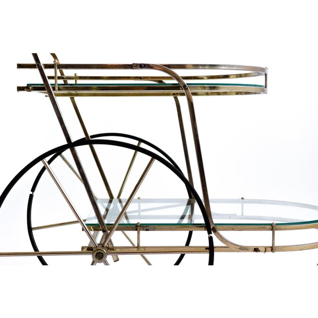 Italian Brass Bar Cart - Image 5 of 7