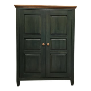 1990s Traditional Ethan Allen Dark Green Wood Media Armoire
