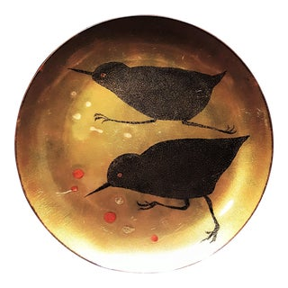 1950s Small Enamel Over Copper Bird Plate