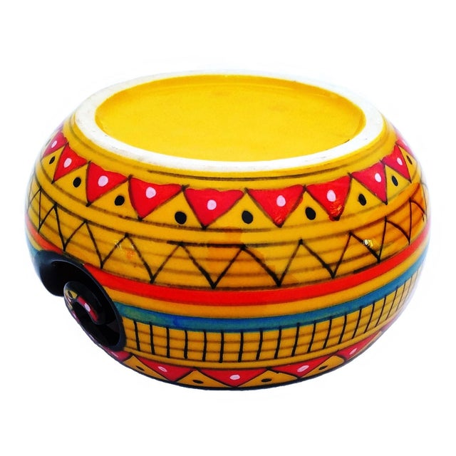 2010s African Handcrafted Yellow Ceramic Knitting Yarn Bowl Holder For Sale - Image 5 of 6
