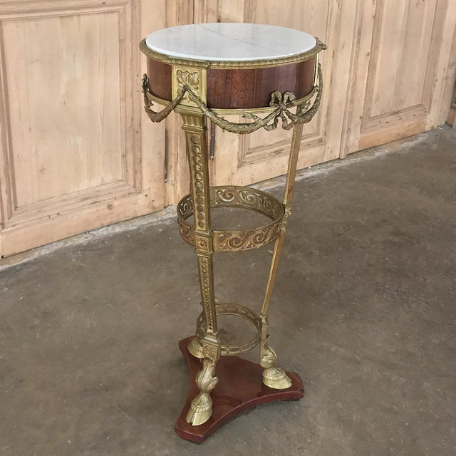 French 19th Century French Louis XVI Marble Top Brass Pedestal For Sale - Image 3 of 12