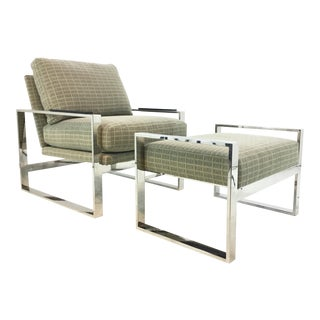 Mid-Century Modern Inspired Vanguard Greek Key and Chrome Chair and Ottoman Set For Sale