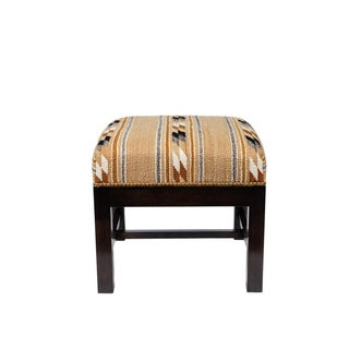 Square Ottoman With Walnut Finish Upholstered in a Vintage Native American Rug For Sale