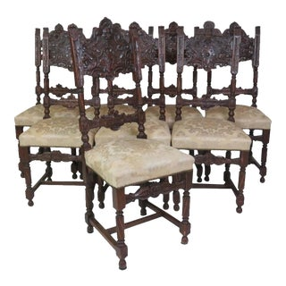 19th Century Carved Dining Chairs - Set of 8 For Sale