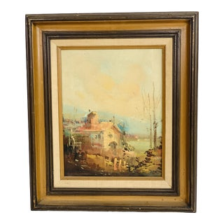 1970s Impressionist Framed Vintage Oil Painting of a Cabin in the Woods For Sale