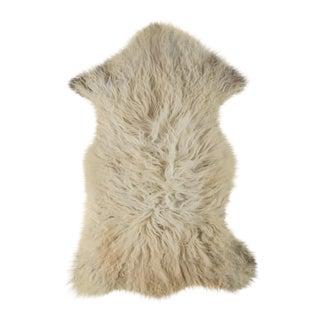 "Contemporary Long Wool Sheepskin Pelt, Handmade Rug - 1'11""x3'2"" For Sale"