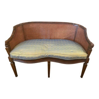Carved Wood Caned Bench With Upholstered Cushion For Sale