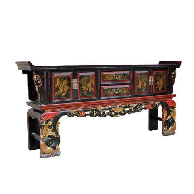 Chinese Fujian Golden Graphic Sideboard Console Table Tv Cabinet For Sale In San Francisco - Image 6 of 10