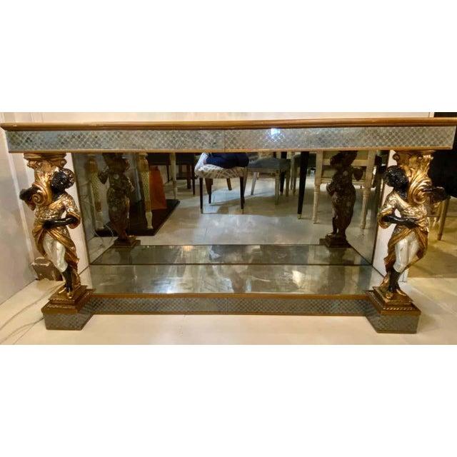 Wood Hollywood Regency Jansen Figural & Eglomise Console Table. Serving / Sideboard For Sale - Image 7 of 12