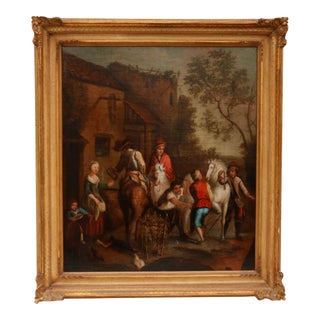 18th C Oil on Canvas English Country Scene For Sale