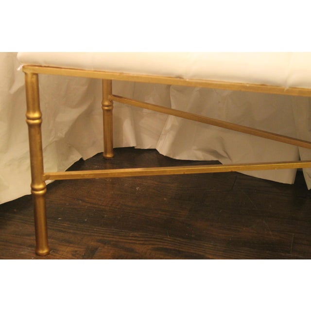 2010s Worlds Away White Tufted Leatherette Gold Faux Bamboo Bench For Sale - Image 5 of 12