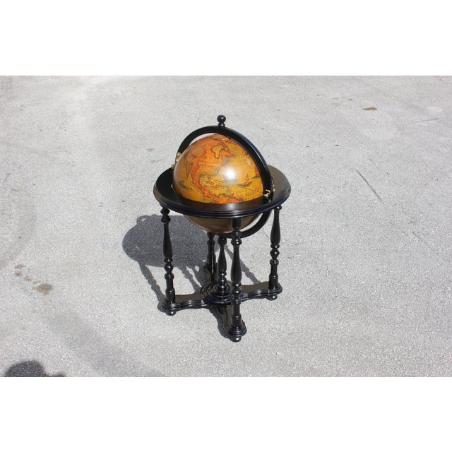 French Mid-Century Solid Mahogany World Globe Bar - Image 8 of 11