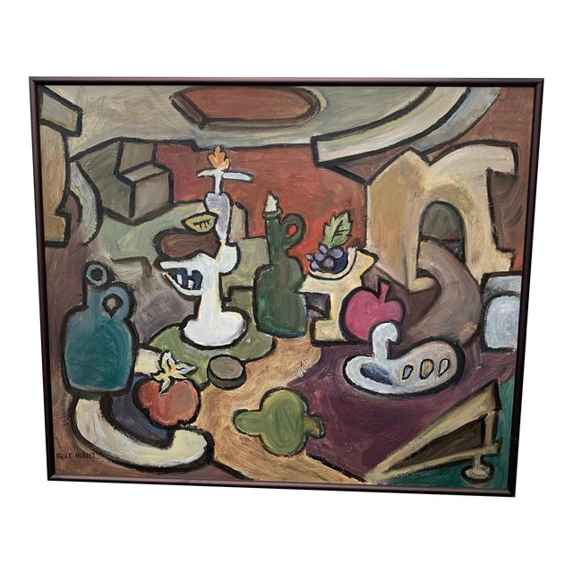"""1960s """"Still Life with Red Sky"""" Cubist Style Oil Painting by Bruce Hurley, Framed For Sale"""