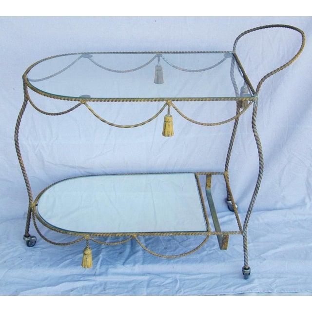 Brown 1950s Vintage Italian Bar & Beverage Liquor Tea Party Cart For Sale - Image 8 of 12