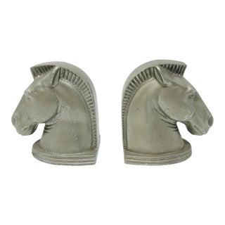 Cast Aluminum Horse Head Bookends - a Pair For Sale