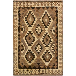 Alexande Brown/Ivory Hand-Woven Kilim Wool Rug -4'3 X 5'8 For Sale