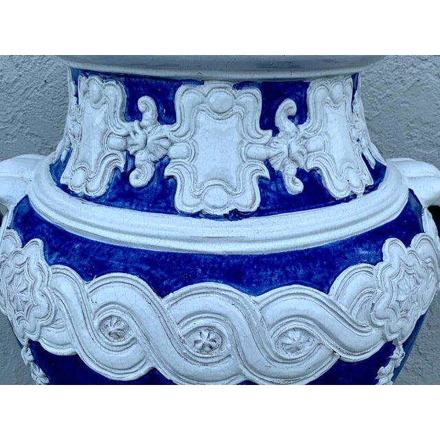 Italian Blue and White Della Robbia Style Jardiniere, Provenance, Celine Dion For Sale In West Palm - Image 6 of 11